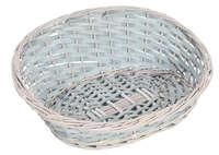 Corbeille Amélie osier/bois déroulé cérusé gris asymétrique ovale 36x30x5/15cm
