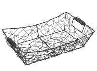 Corbeille Marcel métal anthracite vieilli rectangle 36x23x7/10cm