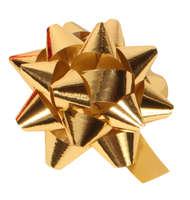 Noeud adhésif brillant or forme étoile (diamètre 50mm)