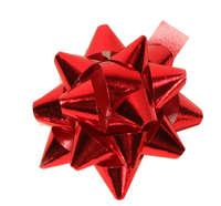 Noeud adhésif brillant rouge forme étoile (diamètre 50mm)