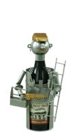 Support bouteille Félix métal gris/cuivre - Bricoleur