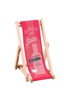 Support bouteille Valentina bois toile - La vie est faite de petits bonheurs