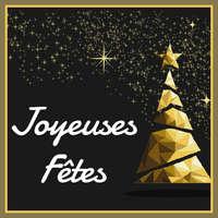 Etiquette adhésive carrée noir/or - Joyeuses Fêtes (boîte de 500)