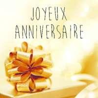Etiquette adhésive carrée quadri/or - Joyeux Anniversaire (boîte de 500)