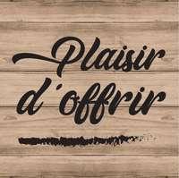 Etiquette adhésive carrée bois/noir - Plaisir d'offrir (boîte de 500)