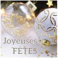 Etiquette adhésive carré blanc/or Joyeuses Fêtes (boîte de 500)
