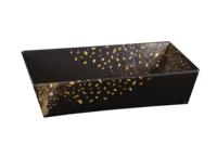 Corbeille Petra carton noir/or rectangle 34x21x8cm