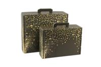 Valisette gourmande Petra carton noir/or 34.5x25.5x11.5cm