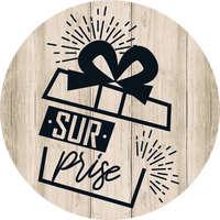 Etiquette adhésive ronde bois/noir - Surprise (boîte de 500)