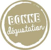 Etiquette adhésive ronde or/blanc - Bonne dégustation (boîte de 500)