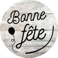 Etiquette adhésive ronde Bois/noir - Bonne Fête (boîte de 500)