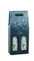 Valisette Alaska carton bleu/or/argent/blanc 2 bouteilles