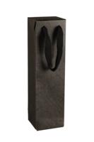 Sac boite Chicago kraft noir mat 1 bouteille - FSC7