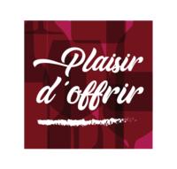 Etiquette adhésive carrée bordeaux/blanc - Plaisir d'Offrir (boîte de 500)
