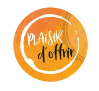 Etiquette adhésive ronde orange/blanc - Plaisir d'Offrir (boîte de 500)