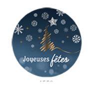Etiquette adhésive Alaska ronde bleu/blanc/or - Joyeuses Fêtes (boîte de 500)