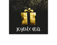 Etiquette adhésive carrée noir/or - Joyeux Noël (boîte de 500)