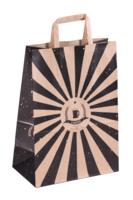 Sac San Diego papier kraft brun/noir 6 bières 20x11x28cm. poignées plates