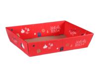 Corbeille Sofia carton décoré rouge festif 37x28x8cm