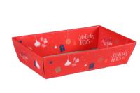 Corbeille Sofia carton décoré rouge festif 42x31x10cm