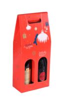 Valisette Sofia carton décoré rouge festif 2 bouteilles