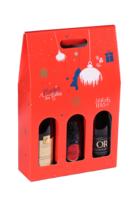 Valisette Sofia carton décoré rouge festif 3 bouteilles