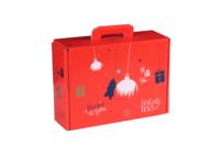 Valisette gourmande Sofia carton décoré rouge festif 34.5x25.5x11.5cm