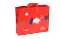 Valisette gourmande Sofia carton décoré rouge festif 42.5x35.5x12cm