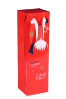 Sac Boxbag Sofia papier pélliculé rouge festif 1 bouteille
