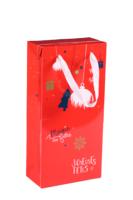 Sac Boxbag Sofia papier pélliculé rouge festif 2 bouteilles