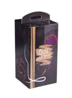 Valisette Box Santino carton décoré noir/or 4 bouteilles 75cl