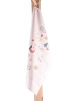 Torchon Swan toile coton écru décoré Festif 65x45cm - Sofia / Magie des Fêtes