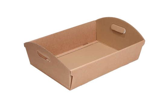 Image du produit Corbeille Rome carton kraft cannelure 23x18x6cm