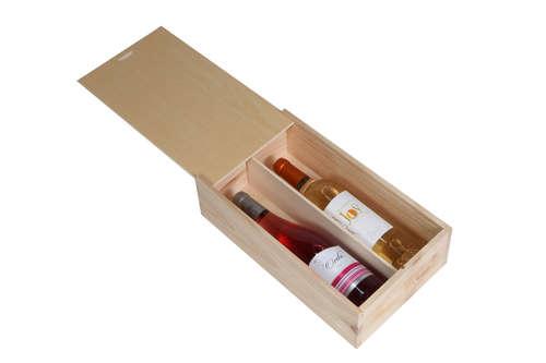 Image du produit Caisse Tradition bois de pin naturel 2 bouteilles