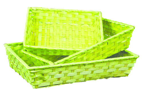 Image du produit Corbeille Rihana bambou anis rectangle 36x26.5x7.5cm