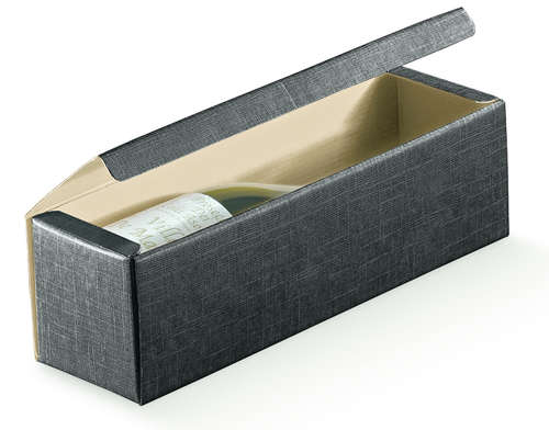 Image du produit Coffret Milan carton aspect tissu noir 1 bouteille