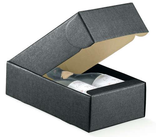 Image du produit Coffret Milan carton aspect tissu noir 2 bouteilles