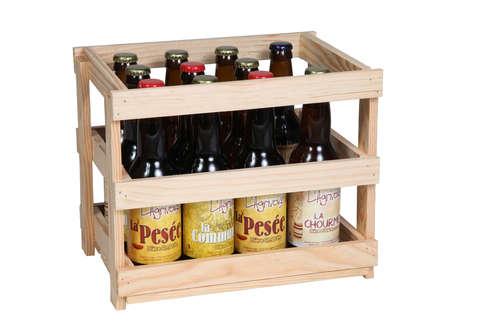 Image du produit Caisse Paulo bois de sapin naturel 12 bières 33cl (type long neck)