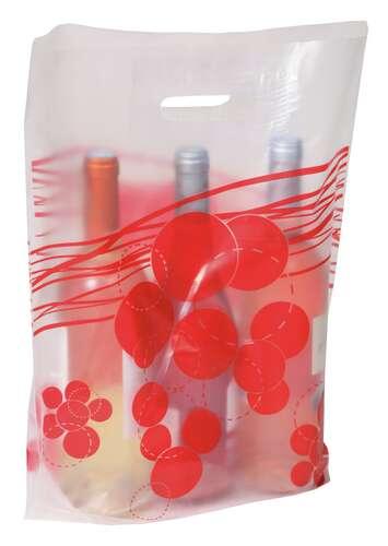 Image du produit Sac Coquelicot plastique givré/rouge 3 bouteilles