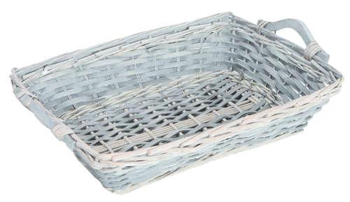 Image du produit Corbeille Amélie osier/bois déroulé cérusé gris rectangle 43x32x10cm