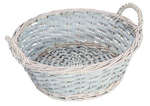 Image du produit Corbeille Amélie osier/bois déroulé cérusé gris ronde 32x11cm