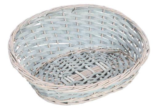 Image du produit Corbeille Amélie osier/bois déroulé cérusé gris asymétrique ovale 36x30x5/15cm