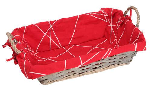 Image du produit Corbeille Rio osier/bois déroulé cérusé gris tissu rouge rectangle 38x28x10cm