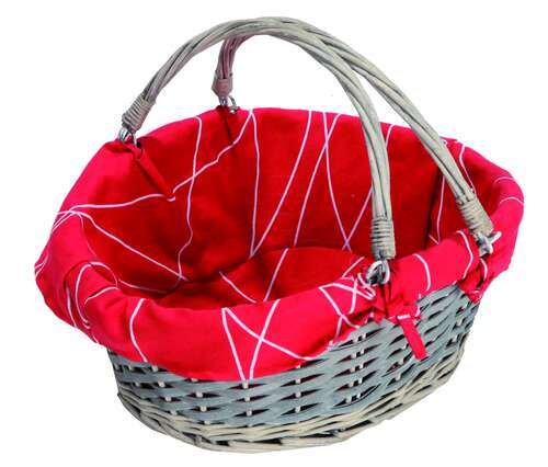 Image du produit Panier Rio osier/bois déroulé cérusé gris tissu rouge ovale 43x34x15/19cm