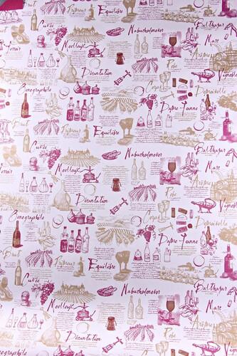 Image du produit Papier cadeau Cépage kraft couché bordeaux/or 73gr 0.70x100m