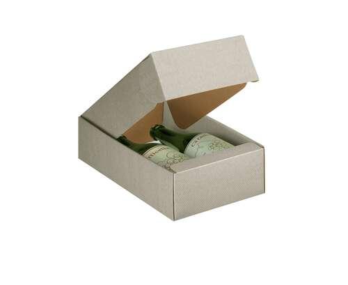 Image du produit Coffret New York carton aspect ligne gris taupe 2 bouteilles