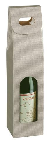 Image du produit Valisette New York carton aspect ligne gris taupe 1 bouteille fenêtre