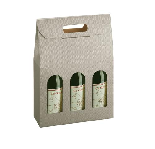 Image du produit Valisette New York carton aspect ligne gris taupe 3 bouteilles fenêtres