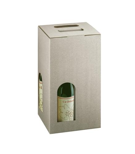 Image du produit Valisette New York carton aspect ligne gris taupe 4 bouteilles fenêtres