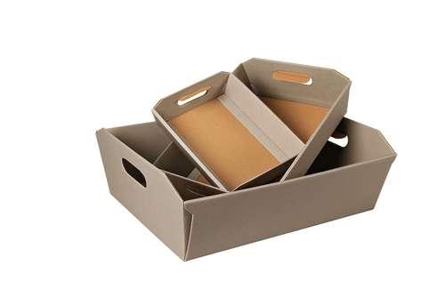 Image du produit Corbeille New York carton aspect ligne gris taupe 42x32x12cm
